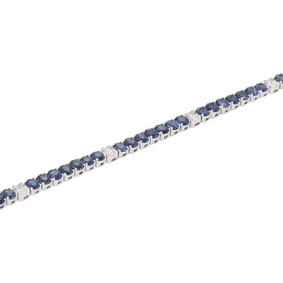 White Gold Sapphire and Diamond Line Bracelet